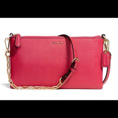 Coach Kylie crossbody real saffiano leather  Brand new with tags !!! Listed for $138 but open to offers ! Reddish pink color Coach Bags Crossbody Bags