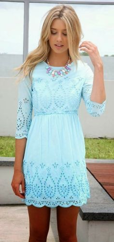 cyan summer necklace Adorable mini dress apparel fashion outfit clothing women style   Gloss Fashionista