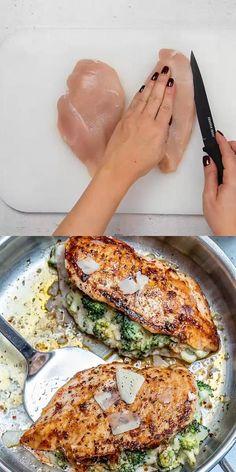 Healthy Chicken Recipes, Low Carb Recipes, Cooking Recipes, Chicken Recipes With Cheese, Chicken Stuffed With Cheese, Gluten Free Recipes With Chicken, Broccoli Stuffed Chicken, Chicken Breats Recipes, Italian Food Recipes