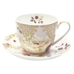 Kimono Breakfast Cup And Saucer, Pink, 480ml