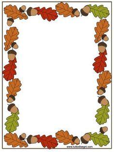Leuk voor een 'Teken Jezelf' als je over het thema Herfst werkt. Bij 'Teken Jezelf' tekenen kinderen zichzelf elke maand. Dit stop je elke keer in een mapje en zo kan je de bevordering zien van elk kind. (Zorg ervoor dat je elke tekening erachter stopt) Aan het einde van de kleuterklas wordt dit meegegeven naar huis, leuk voor ouders en kind.: Borders For Paper, Borders And Frames, Page Boarders, Fall Clip Art, Boarder Designs, Leaf Border, Frame Clipart, Stationery Paper, Autumn Activities