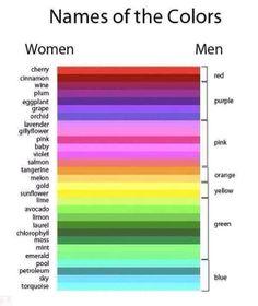 color names women vs men. so funny but true! Men Are From Mars, Men Vs Women, Learning Italian, Learn German, Learn English, Man Vs, Color Names, I Laughed, Funny Pictures