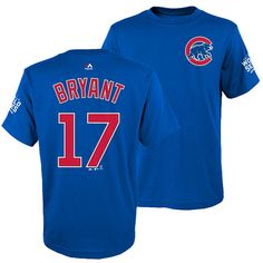 3d5ddc17b1e22 Chicago Cubs Youth Kris Bryant 2016 World Series Name and Number T-Shirt