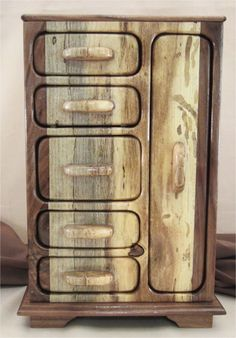 6 drawer walnut and spalted Hackberry jewelry box with hidden and Necklace Drawer Bandsaw Box. $310.00