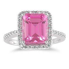 4 1/2 Carat Emerald Cut Pink Topaz and Diamond Ring 14K White Gold #SzulJewelry