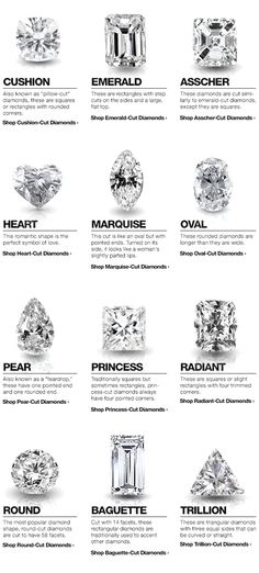 diamond shapes for wedding engagement rings...faves are cushion, emerald, asscher, oval and radiant. ;)