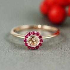Pink Gold White Quartz & Ruby Flower Ring by tooriginal on Etsy, $60.00