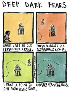 Hobbling along. A fear submitted by Oleg to Deep Dark Fears, thanks! Check out my two books of Deep Dark Fears comics, available now wherever books are sold! Fear Book, Deep Dark Fears, Dark Comics, Nothing To Fear, Dark Thoughts, Dark Fantasy, Tumblr Funny, Fun Facts, Horror