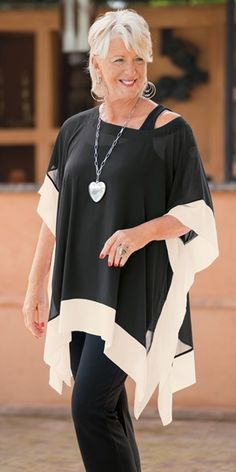 Yoek black/cream chiffon square blouse, vest and trouser