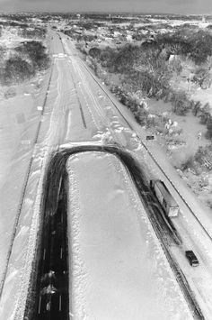 Interstate 95 looking south at the Rhode Island/Massachusetts border between Attleboro, Mass., and Pawtucket, R.I., is shown in an aerial view taken just after the Feb. 1978 blizzard.