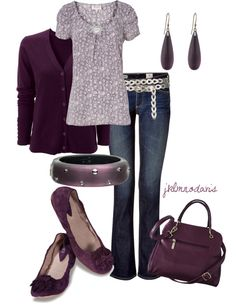 """Purple Passion"" by jklmnodavis on Polyvore Cute Outfit with Belt, Blue Jeans, Purse & Flats"