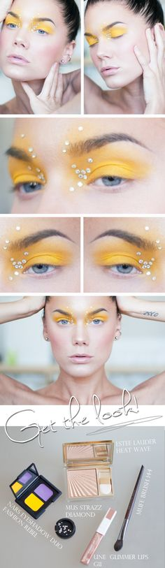 Unique crystal accented yellow eye make-up titled 'Fun with Yellow' by Linda Hallberg.