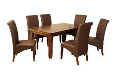 Roscrea Dining Set [Fixed Top] With Brown Grace Chairs Contemporary Dining Sets, Dining Chairs, Dining Table, Brown, Cork, Furniture, Kitchen, Red, Home Decor