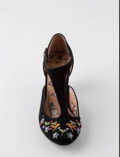 ANTHROPOLOGIE-Songbird-Embroidered-T-Straps-Shoes-Miss-L-Fire-NIB-New-Euro-39