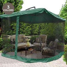 Offset Umbrella Mosquito Net Black Netting Mesh W/ Red/Green/Tan Edge  Zipper Outdoor Patio 2 Of 7