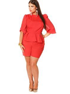 """Maria"" Chiffon Sleeve Peplum Romper - Coral - Cocktail Dresses - Clothing - Monif C"