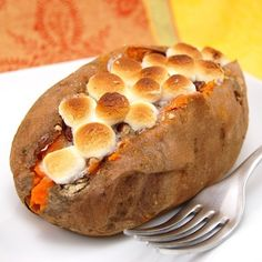 Stuffed Sweet Potato with Pecan and Marshmallow Streusel | 23 Amazing Ways To Eat A Baked Potato For Dinner