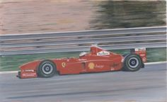Original oil painting by Barrie Cann Michael Scumacher, Ferrari F1 #oil #painting #art #cars #F1 #Barrie #Cann #barriecann #Grand Prix