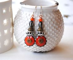 Ethnic Earrings, Tribal Orange Earrings, Artisan Enamel Earrings, Boho Chic Earrings, Bright Bold, Flower Earrings by bstrung on Etsy https://www.etsy.com/listing/534332193/ethnic-earrings-tribal-orange-earrings