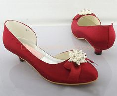 low heel wedding shoes red satin wedding shoes with peals