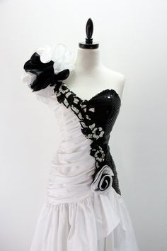 Vintage1980s Party Dress Black and White One by EightiesLadies, $69.00