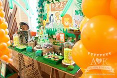 Romeo's Jungle Safari themed First Birthday Dessert Table by A&K Lolly Buffet