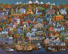 """Plymouth"" 1000 pieces From Dowdle Folk Art Completed puzzle measures 19"" x 26"" Artist: See more from Eric Dowdle"