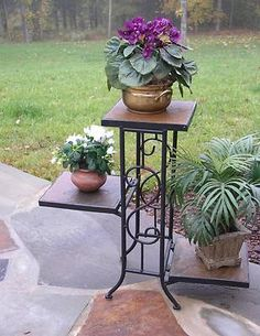 Concepts 3 Tier Slate Plant Stand - This plant stand from Concepts is an excellent choice for looks, space efficiency, and simply showing off your green thumb. There is lots of room to. Metal Plant Stand, Modern Plant Stand, Diy Plant Stand, Plant Stands, Small Plant Stand, Square Planters, Flower Holder, Flower Stands, Eiffel