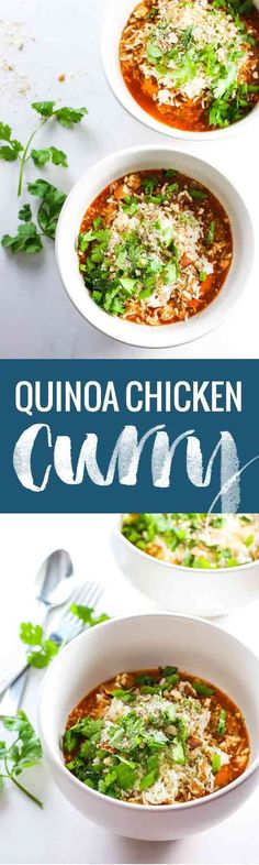 Healthy Quinoa Chicken Curry Bowls - simple, vibrant, spicy, and adaptable to any ingredients you have on hand! 300 calories.