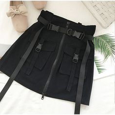 Summer Women Skirts High Waist Bud Mini Skirt Gothic Punk Pocket Buckle Safari Skirts Streetwear Color Black Size S Teen Fashion Outfits, Edgy Outfits, Cute Casual Outfits, Girl Outfits, Female Outfits, Skirts With Pockets, Mini Skirts, Black Skirts, Vetements Clothing