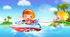 Children's Water surfing motion vector material