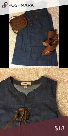 "🆕Monteau denim shift dress ❣Lowest Price❣ NWT Monteau denim shift dress. Size XS measures 33"" from shoulder to bottom of dress and 15"" armpit to armpit. Soft sueded leather like tie. 100%cotton. Monteau Dresses Mini"