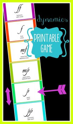 FREE Printable Dynamics Game - make a very simple and fast dynamics poster chart with an arrow and use singing loud and soft to help a student find a hidden object. Lots of fun for children of all ages! | VanillaJoy.com