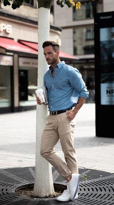 Men's Style Inspiration: camisa Jean + Pantalón dril + Tennis Blanco