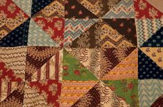 Quilt - Isabella Spence, Patchwork, Scotland, 1840s-1850s Primitive Quilts, Antique Quilts, Vintage Quilts, Crazy Quilt Blocks, Civil War Quilts, Doll Quilt, Small Quilts, Textile Prints, Quilting Designs