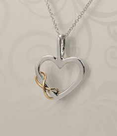Mothers Day Sale Heart Pendant - Two Toned Pendant - Infinity Pendant - Infinity Jewelry - Argentium Sterling Silver - Bridesmaid Jewelry Heart Jewelry, Cute Jewelry, Boho Jewelry, Jewelery, Silver Jewelry, Jewelry Accessories, Jewelry Design, Jewelry Tree, Handmade Jewelry