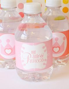 Pink Princess Party PRINTABLE Drink Labels (INSTANT DOWNLOAD) by Love The Day on Etsy, $10.00