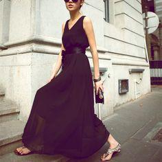 Sleeveless Long Style Cinched Waist Dress