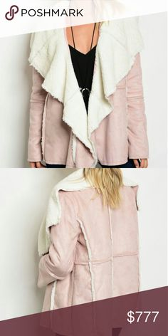 """BLUSH PINK SUEDE JACKET Brand new Boutique item  Get ready for fall/winter with this Fabulous faux suede blush pink jacket featuring open front style and soft white faux fur inside. A must have for the season!!  100%polyester   Small Bust 20"""" pit to pit /Length 26"""" Medium bust 22"""" pit to pit/length 26"""" Large bust 24"""" pit to pit/length 27"""" Hand measurements are approx  Holiday party Vegas winter fall coat coats jackets warm cozy comfortable Christmas gift present Sassy Boutique Jackets…"""