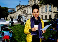 Pearl Mackie on the set of Doctor Who Series 10 for the first time.