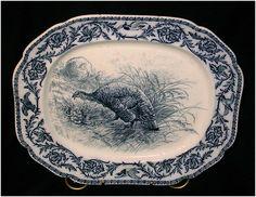 English Flow Blue turkey platter. No mark, but known as Cauldron. c1840s. 17x15