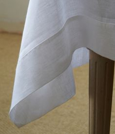 Classic White Mitered Hem Linen Tablecloth - Madison
