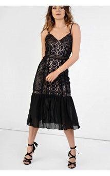 3c795e1fcb368 LOOK X GLAMOROUS Black Lace Drop Waist Bodycon Dress Black Midi Dress  Bodycon
