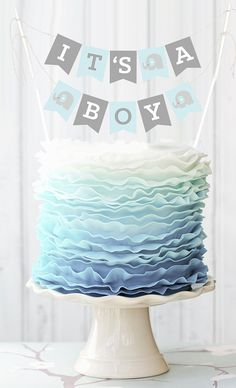 Blue Elephant Baby Shower Banner for Cake Decorations  by ModParty