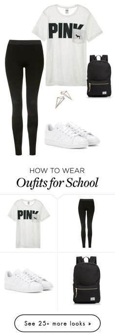"""Casual School Day"" by kelseyracicot on Polyvore featuring Topshop, Victoria's Secret, adidas and Herschel Supply Co."