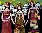 Angel Folk Art Print - Primitive Angels Folk Art Print GUARDIAN ANGEL - Wedding Gifts