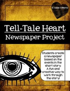 "Heart Newspaper Project - Digital and Print Versions Included Tell-Tale+Heart+-+After+reading+Poe's+""Tell-Tale+Heart""+students+create+a+newspaper+based+on+the+events+in+the+short+story. 8th Grade Reading, 8th Grade Ela, Middle School Reading, Middle School English, Teaching Literature, Teaching Reading, Teaching Language Arts, Teaching English, Teacher Resources"