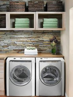 I like the idea of a backsplash of sorts in a laundry room.or at least in this laundry room. ** Side Bar: Why do people stage laundry rooms with cute towels? Is there a use for towels in a laundry room that I have not been privy to before? Laundry Room Remodel, Laundry Room Storage, Laundry Room Design, Laundry In Bathroom, Laundry Rooms, Laundry Shelves, Laundry Area, Laundry Closet, Design Basics