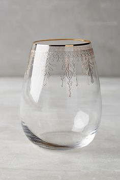 Battenburg Stemless Wine Glass - anthropologie.com