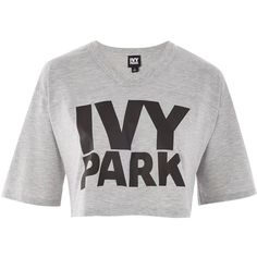 Logo Crop T-Shirt by Ivy Park (146305 PYG) ❤ liked on Polyvore featuring tops, t-shirts, light grey m, logo top, polyester t shirts, cut-out crop tops, light gray t shirt and light grey t shirt
